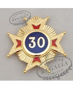 A018 Rose Croix 30th Degree Star Jewel Metal Gilt & Enamel
