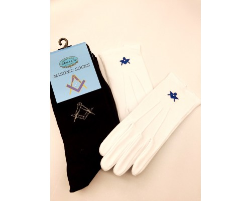 3 Pairs Of Masonic Socks And 1 Pair Of Cotton Gloves